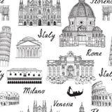 Υπόβαθρο της Ευρώπης ταξιδιού Άνευ ραφής σχέδιο ορόσημων της Ιταλίας διάσημο Στοκ εικόνα με δικαίωμα ελεύθερης χρήσης