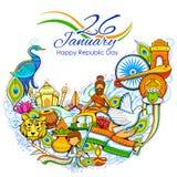 Υπόβαθρο της Ινδίας που παρουσιάζει τον απίστευτους πολιτισμό και ποικιλομορφία του με το μνημείο, φεστιβάλ διανυσματική απεικόνιση