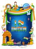 Υπόβαθρο της Ινδίας που παρουσιάζει τον απίστευτους πολιτισμό και ποικιλομορφία του με το μνημείο, φεστιβάλ χορού απεικόνιση αποθεμάτων
