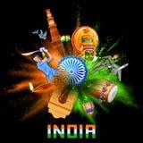 Υπόβαθρο της Ινδίας στο tricolor και Ashoka Chakra με την έκρηξη χρώματος σκονών ελεύθερη απεικόνιση δικαιώματος