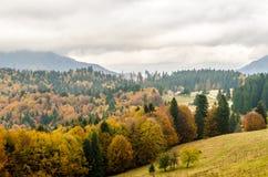 Υπόβαθρο τοπίων βουνών φθινοπώρου Στοκ Εικόνες