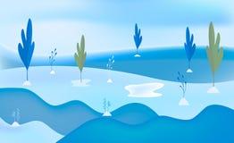 Υπόβαθρο τοπίων χειμερινού χιονιού Ελάχιστη επίπεδη απεικόνιση απεικόνιση αποθεμάτων