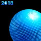 υπόβαθρο του 2018 με την μπλε σφαίρα και την ημερομηνία disco Στοκ Εικόνα