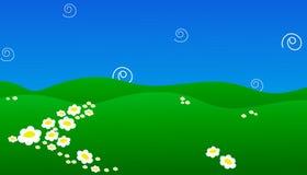 Υπόβαθρο του πράσινου τομέα με τα λουλούδια και την απεικόνιση EPS 10 μπλε ουρανού Στοκ Φωτογραφία