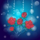 Υπόβαθρο του ροδαλού λουλουδιού στις διανυσματικές απεικονίσεις ημέρας βαλεντίνων ελεύθερη απεικόνιση δικαιώματος