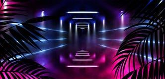 Υπόβαθρο του σκοτεινού δωματίου, σήραγγα, διάδρομος, φως νέου, λαμπτήρες, τροπικά φύλλα απεικόνιση αποθεμάτων