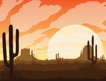 Υπόβαθρο του τοπίου με την έρημο και τον κάκτο ελεύθερη απεικόνιση δικαιώματος