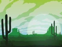 Υπόβαθρο του τοπίου με την έρημο και τον κάκτο απεικόνιση αποθεμάτων