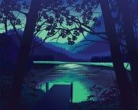 Υπόβαθρο του τοπίου με την ξύλινη αποβάθρα κοντά στη λίμνη, δάσος διανυσματική απεικόνιση