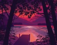 Υπόβαθρο του τοπίου με την ξύλινη αποβάθρα κοντά στη λίμνη, δάσος απεικόνιση αποθεμάτων