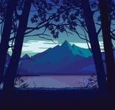 Υπόβαθρο του τοπίου με τον ποταμό και τα βουνά διανυσματική απεικόνιση