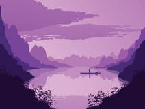 Υπόβαθρο του τοπίου με τον ποταμό και τα βουνά ελεύθερη απεικόνιση δικαιώματος