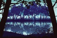 Υπόβαθρο του τοπίου με τον ποταμό και το βαθύ δάσος ελεύθερη απεικόνιση δικαιώματος