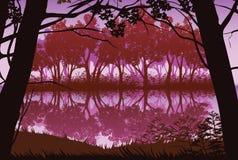 Υπόβαθρο του τοπίου με τον ποταμό και το βαθύ δάσος διανυσματική απεικόνιση