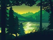 Υπόβαθρο του τοπίου με τον ποταμό, το δάσος και τα βουνά απεικόνιση αποθεμάτων
