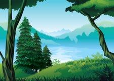 Υπόβαθρο του τοπίου με τον ποταμό, το δάσος και τα βουνά ελεύθερη απεικόνιση δικαιώματος
