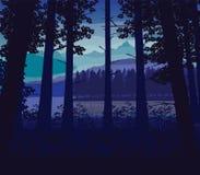 Υπόβαθρο του τοπίου με τον ποταμό, το βαθιά δάσος και τα βουνά διανυσματική απεικόνιση