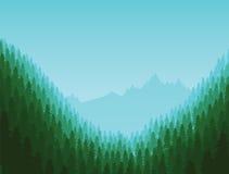 Υπόβαθρο του τοπίου με το βαθύ δάσος έλατου διανυσματική απεικόνιση