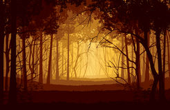 Υπόβαθρο του τοπίου με το βαθύ δάσος διανυσματική απεικόνιση