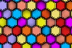 Υπόβαθρο του colorist και μεγάλα hexagons με την ανακούφιση και τις σκιές, Στοκ εικόνες με δικαίωμα ελεύθερης χρήσης