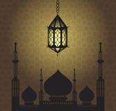 Υπόβαθρο του Kareem Ramadan με τη σκιαγραφία μουσουλμανικών τεμενών Ευχετήρια κάρτα για τον ιερό μήνα Ramadan επίσης corel σύρετε διανυσματική απεικόνιση