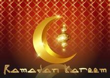 Υπόβαθρο του Mubarak Ramadan Σχέδιο ευχετήριων καρτών του Kareem Ramadan με το μισό φεγγάρι και το χρυσό φανάρι Διανυσματικό χρυσ διανυσματική απεικόνιση