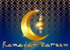 Υπόβαθρο του Mubarak Ramadan Σχέδιο ευχετήριων καρτών του Kareem Ramadan με το μισό φεγγάρι και το χρυσό φανάρι Διανυσματικό χρυσ απεικόνιση αποθεμάτων