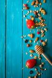Υπόβαθρο τροφίμων Granola στοκ εικόνες