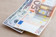 Υπόβαθρο των αμερικανικών και ευρωπαϊκών λογαριασμών Στοκ εικόνα με δικαίωμα ελεύθερης χρήσης