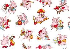 Υπόβαθρο των αστείων χοίρων Άνευ ραφής σχέδιο των διανυσματικών απεικονίσεων Τύλιγμα δώρων textile 2019 κινεζικό νέο έτος του χοί απεικόνιση αποθεμάτων
