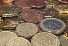 Υπόβαθρο των διαφορετικών ευρο- νομισμάτων σεντ Στοκ Εικόνες