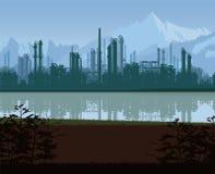 Υπόβαθρο των εγκαταστάσεων καθαρισμού πετρελαίου και φυσικού αερίου απεικόνιση αποθεμάτων