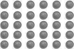 Υπόβαθρο των ρωσικών νομισμάτων στις μετονομασίες 5 ρουβλιών σε ένα άσπρο υπόβαθρο στοκ εικόνες