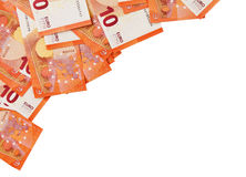Υπόβαθρο των σημειώσεων δέκα ευρώ που τοποθετούνται στη γωνία Στοκ Εικόνες
