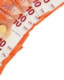 Υπόβαθρο των σημειώσεων δέκα ευρώ που τοποθετούνται στη γωνία Στοκ φωτογραφίες με δικαίωμα ελεύθερης χρήσης