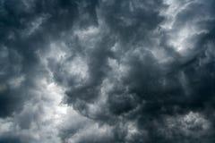 Υπόβαθρο των σκοτεινών σύννεφων πριν από thunder-storm, φως του ήλιου μέσω του πολύ σκοτεινού υποβάθρου σύννεφων, άσπρη τρύπα στο Στοκ εικόνες με δικαίωμα ελεύθερης χρήσης