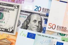 Υπόβαθρο των τραπεζογραμματίων χρημάτων εγγράφου από την Ευρώπη και την Αμερική Στοκ Εικόνες
