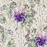 Υπόβαθρο των τριαντάφυλλων και της ίριδας πρότυπο άνευ ραφής στοκ φωτογραφίες