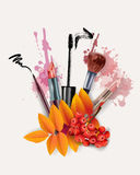 Υπόβαθρο φθινοπώρου με τα καλλυντικά και τα φύλλα φθινοπώρου Διάνυσμα προτύπων διανυσματική απεικόνιση