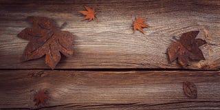 Υπόβαθρο φθινοπώρου με τα σκουριασμένα φύλλα Στοκ Φωτογραφίες