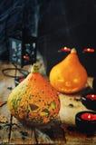 Υπόβαθρο φρίκης αποκριών με έναν Ιστό αραχνών ` s, κολοκύθες, candl Στοκ Εικόνα