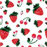 Υπόβαθρο φραουλών, ύφος watercolor, διανυσματική απεικόνιση Στοκ Εικόνες