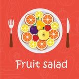 Υπόβαθρο φρούτων στο επίπεδο ύφος Ζωηρόχρωμο πρότυπο για το μαγείρεμα, τις επιλογές εστιατορίων και τα χορτοφάγα τρόφιμα Στοκ φωτογραφία με δικαίωμα ελεύθερης χρήσης