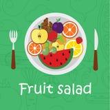 Υπόβαθρο φρούτων στο επίπεδο ύφος Ζωηρόχρωμο πρότυπο για το μαγείρεμα, τις επιλογές εστιατορίων και τα χορτοφάγα τρόφιμα Στοκ Φωτογραφία