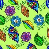 Υπόβαθρο φυτού με τα φύλλα και τα λουλούδια άνευ ραφής Στοκ φωτογραφία με δικαίωμα ελεύθερης χρήσης