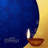Υπόβαθρο χαιρετισμού diwali ασφαλίστρου με το διακοσμητικό diya Στοκ Φωτογραφία