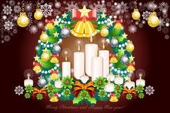 Υπόβαθρο Χαρούμενα Χριστούγεννας με τα ελατήρια ελαιόπρινου και τις ζωηρόχρωμες διακοσμήσεις - διανυσματικό eps10 απεικόνιση αποθεμάτων