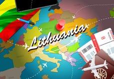 Υπόβαθρο χαρτών έννοιας ταξιδιού της Λιθουανίας με τα αεροπλάνα, εισιτήρια Ταξίδι της Λιθουανίας επίσκεψης και έννοια προορισμού  απεικόνιση αποθεμάτων