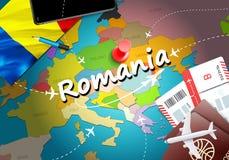 Υπόβαθρο χαρτών έννοιας ταξιδιού της Ρουμανίας με τα αεροπλάνα, εισιτήρια Ταξίδι της Ρουμανίας επίσκεψης και έννοια προορισμού το ελεύθερη απεικόνιση δικαιώματος