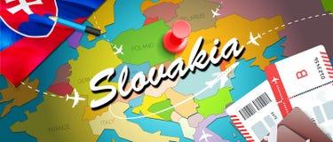 Υπόβαθρο χαρτών έννοιας ταξιδιού της Σλοβακίας με τα αεροπλάνα, εισιτήρια Ταξίδι της Σλοβακίας επίσκεψης και έννοια προορισμού το ελεύθερη απεικόνιση δικαιώματος